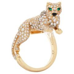 Vintage 18kyg Panthere De Cartier Diamond, Emerald & Onyx Walking Panther Ring