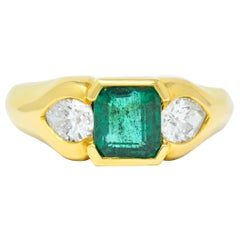 Vintage 1.90 Carat Emerald Diamond 18 Karat Gold Three-Stone Ring