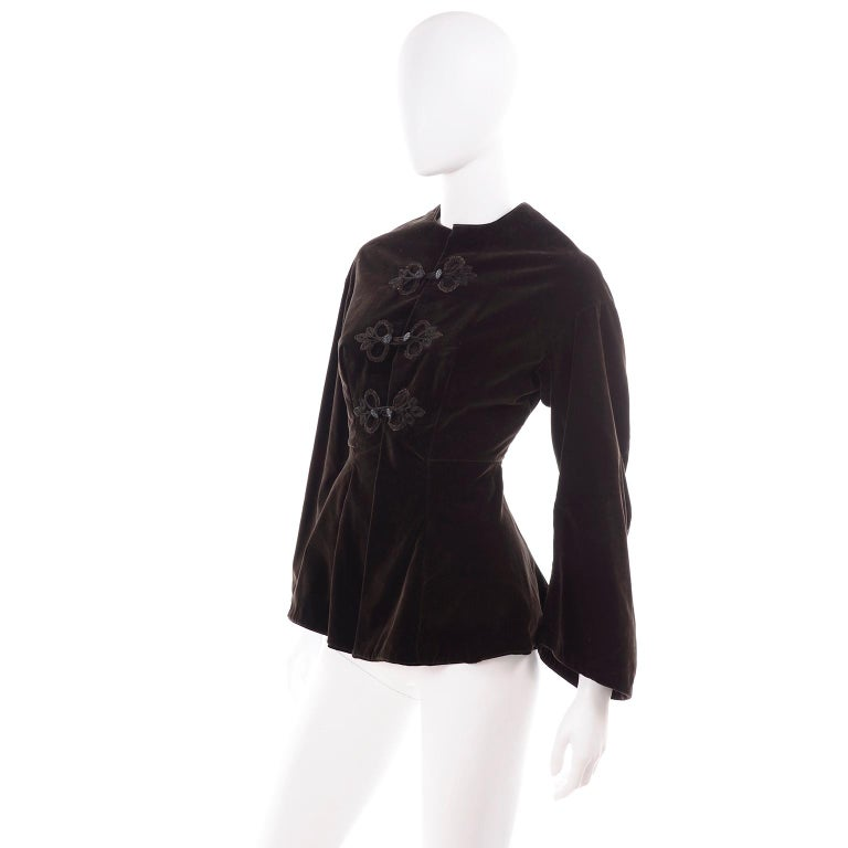 Black Vintage 1900s Edwardian Basque Brown Velvet Jacket with Peplum & Soutache For Sale