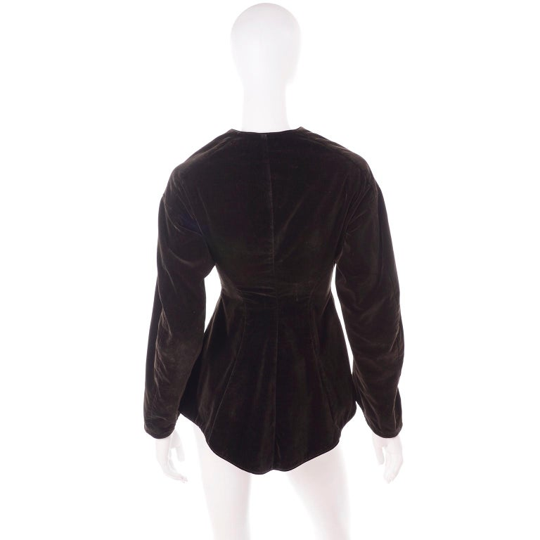 Vintage 1900s Edwardian Basque Brown Velvet Jacket with Peplum & Soutache In Good Condition For Sale In Portland, OR