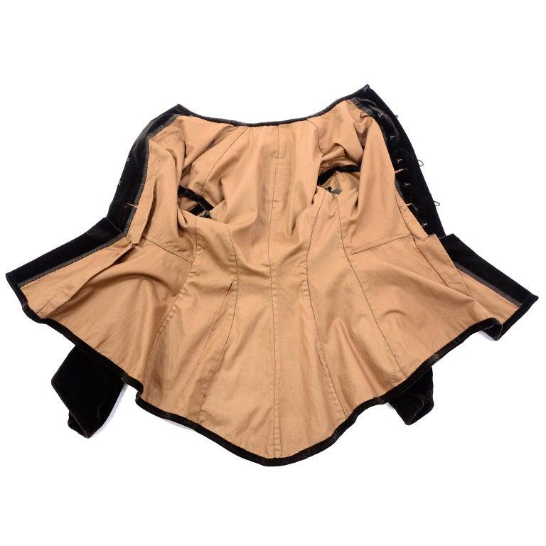 Women's Vintage 1900s Edwardian Basque Brown Velvet Jacket with Peplum & Soutache For Sale