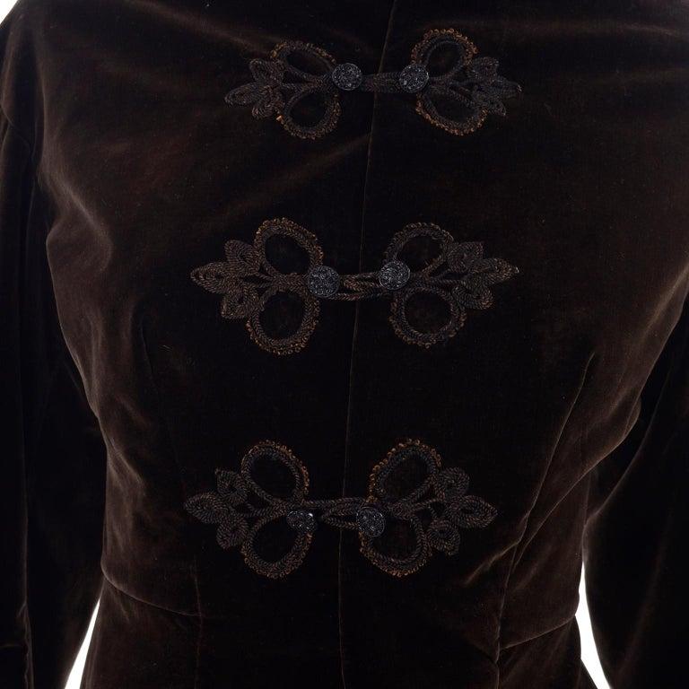 Vintage 1900s Edwardian Basque Brown Velvet Jacket with Peplum & Soutache For Sale 1