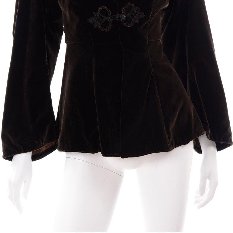 Vintage 1900s Edwardian Basque Brown Velvet Jacket with Peplum & Soutache For Sale 3