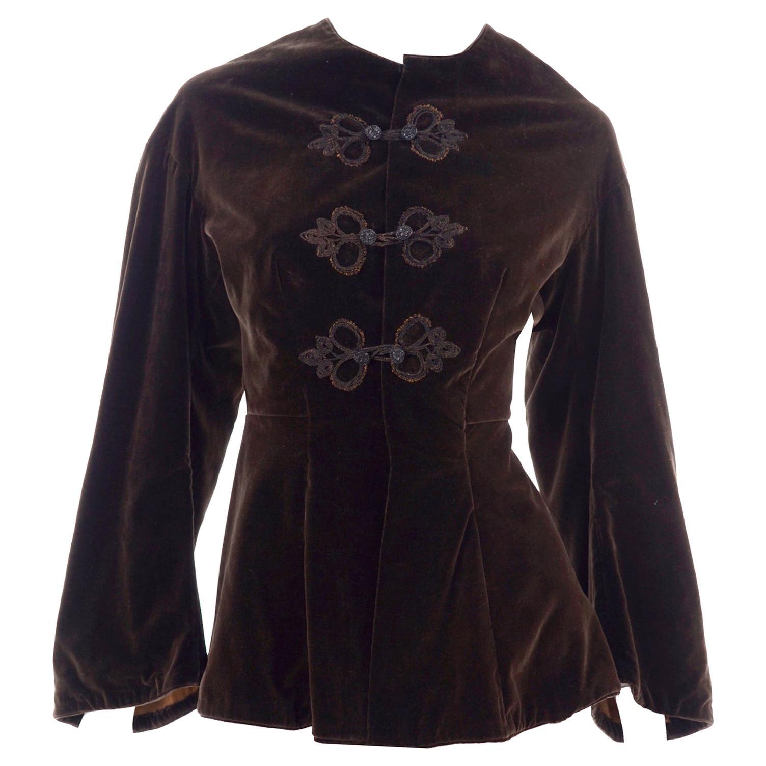 Vintage 1900s Edwardian Basque Brown Velvet Jacket with Peplum & Soutache