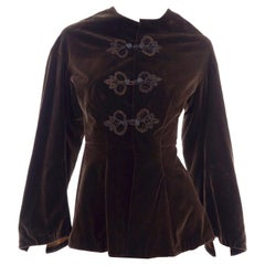 Vintage 1900s Edwardian Basque Brown Velvet Jacket with Peplum & Soutache