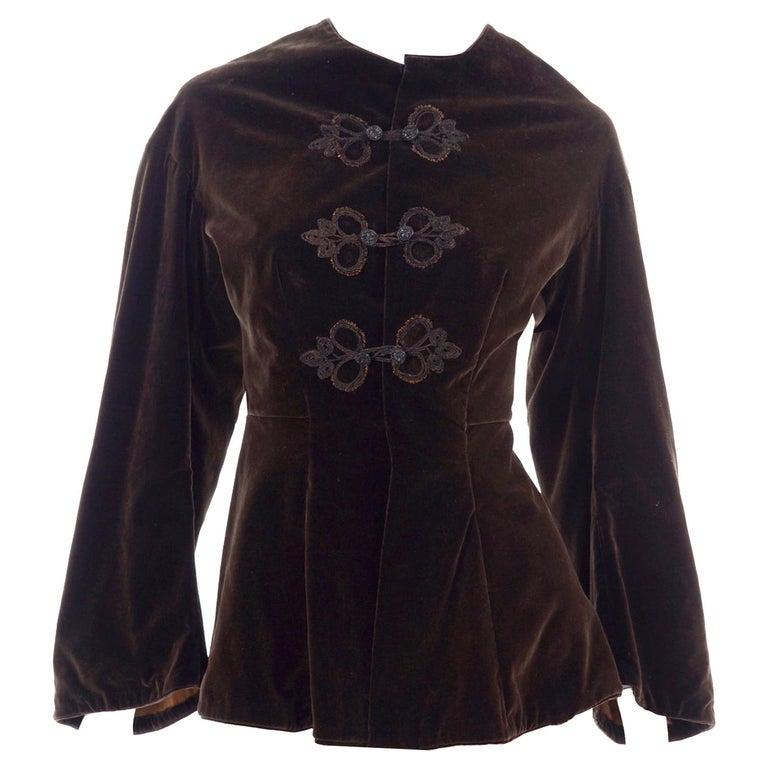 Vintage 1900s Edwardian Basque Brown Velvet Jacket with Peplum & Soutache For Sale