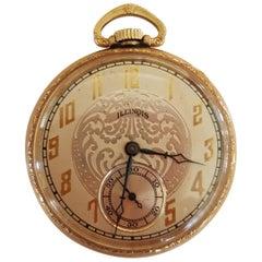 Vintage 1922 Illinois 10 Karat Gold Pocket Watch, Works, Excellent Condition