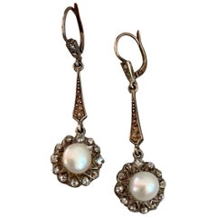 Vintage 1900s Pearl and Mine Cut Diamond Silver and Gold Lever Back Earrings