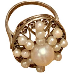 Vintage 1910s-1930s Era Cultured Pearl Platinum Ring