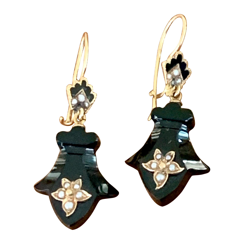 Vintage 1910's Black Onyx and Seed Pearl 14 Karat Yellow Gold Dangle Earrings