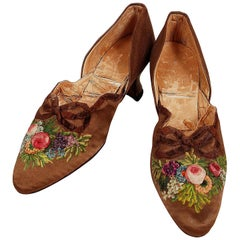 Vintage 1910's Laird Schober Couture Floral Embroidered Applique Rosettes Shoes