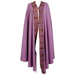 Vintage 1915 Liberty Paris Couture Lilac Wool & Colorful Lace Art-Nouveau Cape