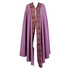 Vintage 1915 Liberty Paris Couture Lilac Wool & Colorful Lace Art-Nouveau Cape