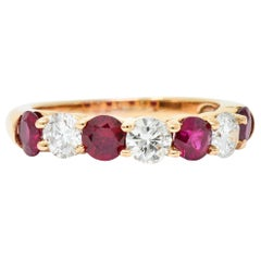 Vintage 1.92 Carat Diamond Ruby 18 Karat Rose Gold Band Ring