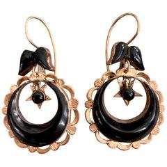 Vintage 1920s-1930s Black Onyx 14 Karat Yellow Gold Drop Earrings