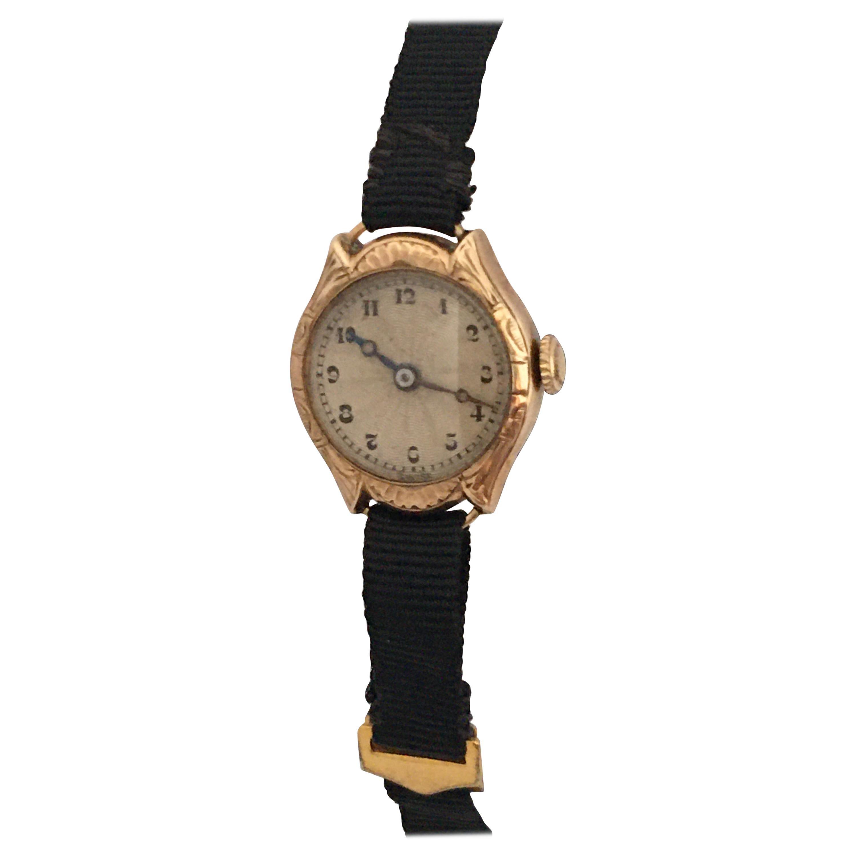 Vintage 1920s 9 Karat Gold Ladies Mechanical Watch