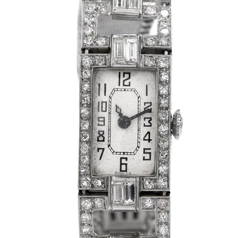 Vintage 1920's Art Deco Diamond Platinum Ladies Mesh Watch In Excellent Condition For Sale In Miami, FL