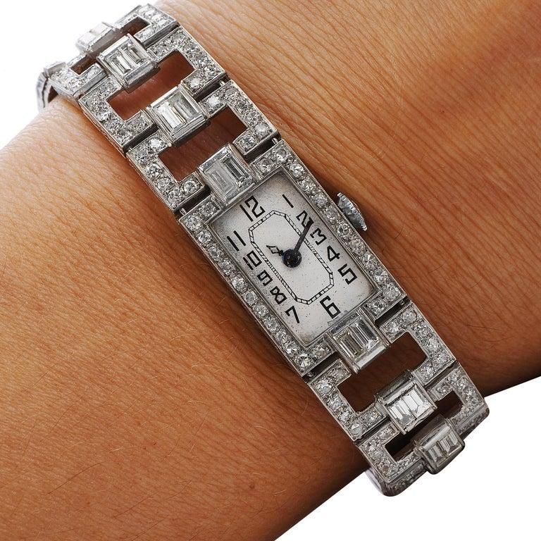 Vintage 1920's Art Deco Diamond Platinum Ladies Mesh Watch For Sale 1