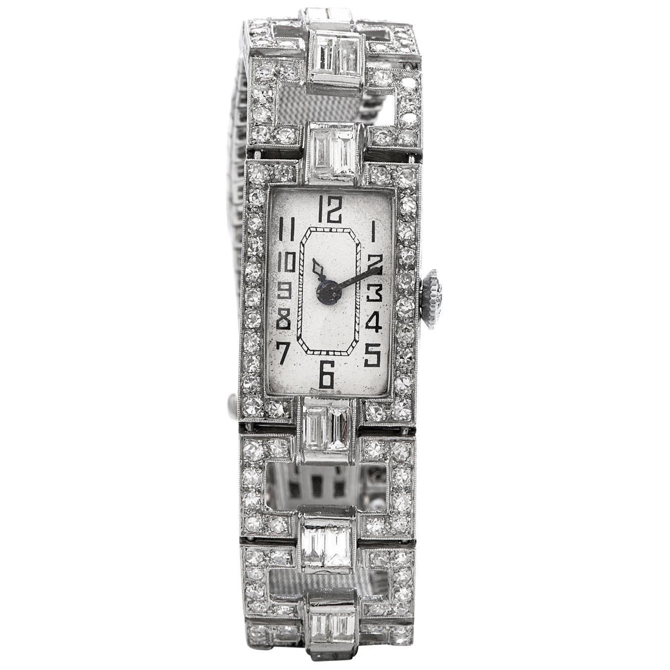 Vintage 1920's Art Deco Diamond Platinum Ladies Mesh Watch