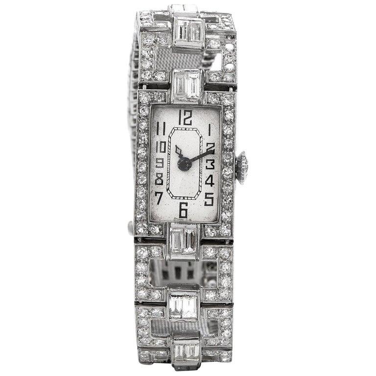Vintage 1920's Art Deco Diamond Platinum Ladies Mesh Watch For Sale