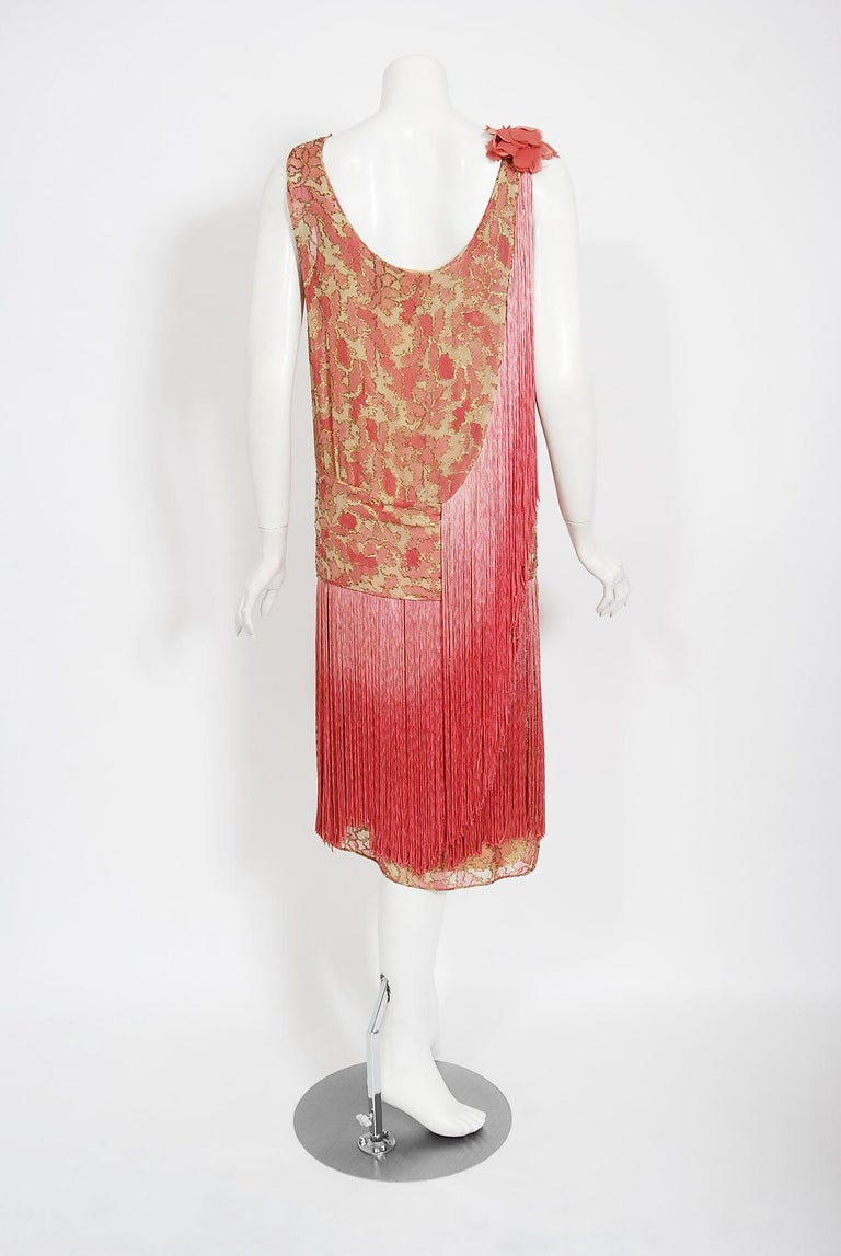 Vintage 1920's B. Altman Couture Metallic-Pink Lamé Ombre Fringe Flapper Dress 5