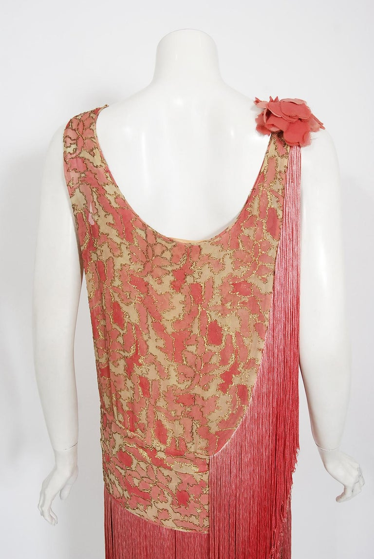 Vintage 1920's B. Altman Couture Metallic-Pink Lamé Ombre Fringe Flapper Dress 7