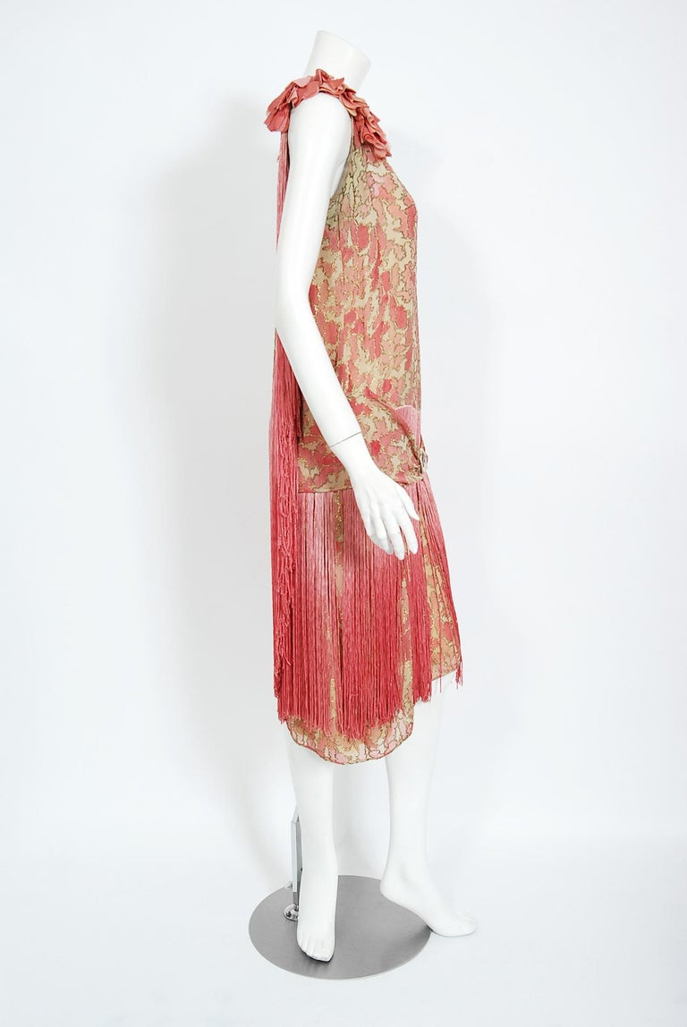 Women's or Men's Vintage 1920's B. Altman Couture Metallic-Pink Lamé Ombre Fringe Flapper Dress