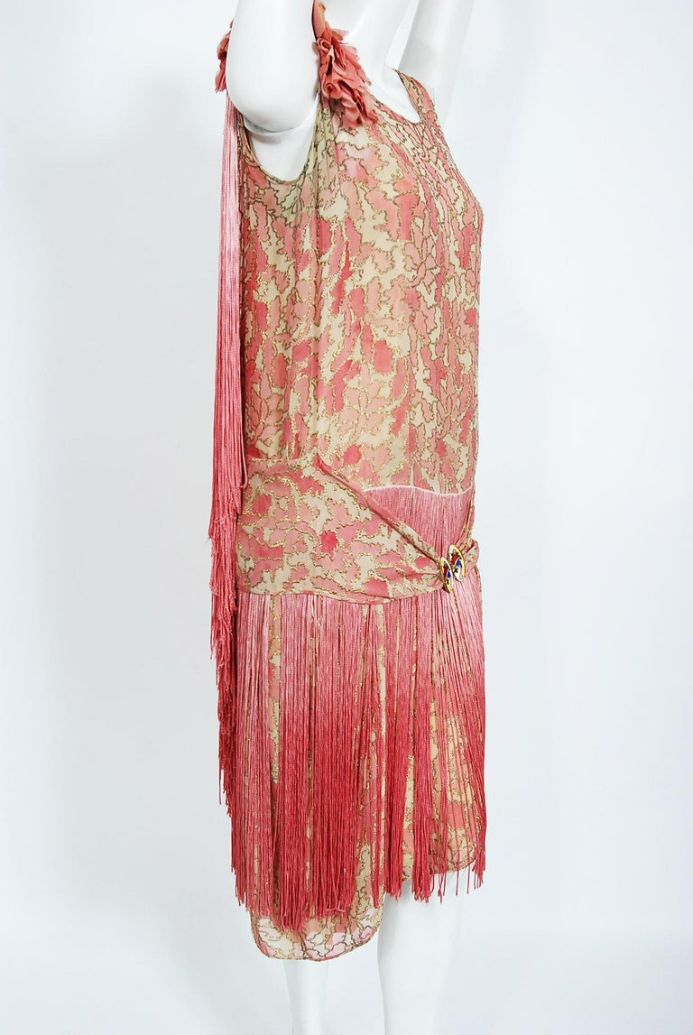 Vintage 1920's B. Altman Couture Metallic-Pink Lamé Ombre Fringe Flapper Dress 1