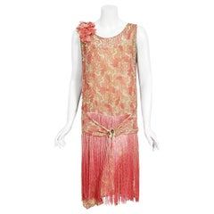 Vintage 1920's B. Altman Couture Metallic-Pink Lamé Ombre Fringe Flapper Dress