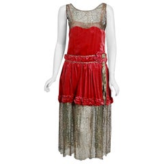 Vintage 1920's Bedell Couture Magenta Velvet Metallic Gold Lace Flapper Dress