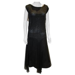 Vintage 1920s Black Beaded Flapper Dress