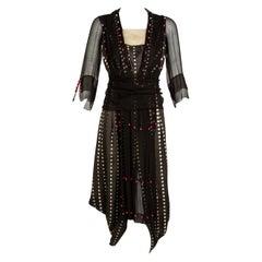Vintage 1920s Black White Silk Dot Magenta Pom Pom Draped Dress