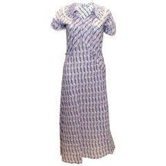 Vintage 1920s Blue and White Cotton Day Dress