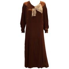 Vintage 1920s Brown Silk Dress