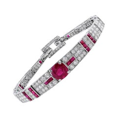 Vintage 1920s Cartier Unheated Burmese Ruby Diamond Bracelet