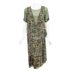 Vintage 1920's Chinese Architecture Scenic Print Silk & Beaded Chiffon Dress