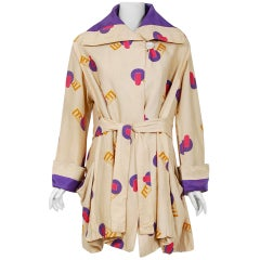 Vintage 1920's Colorful Art-Deco Geometric Novelty Print Silk Belted Wrap Jacket
