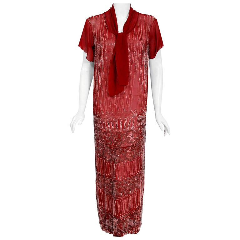 Vintage 1920's Couture Burgundy Red Beaded Floral Silk Scarf-Tie Flapper Dress For Sale