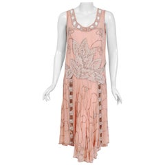 Vintage 1920's Couture Pink Floral Beaded Silk Metallic Gold Lamé Flapper Dress