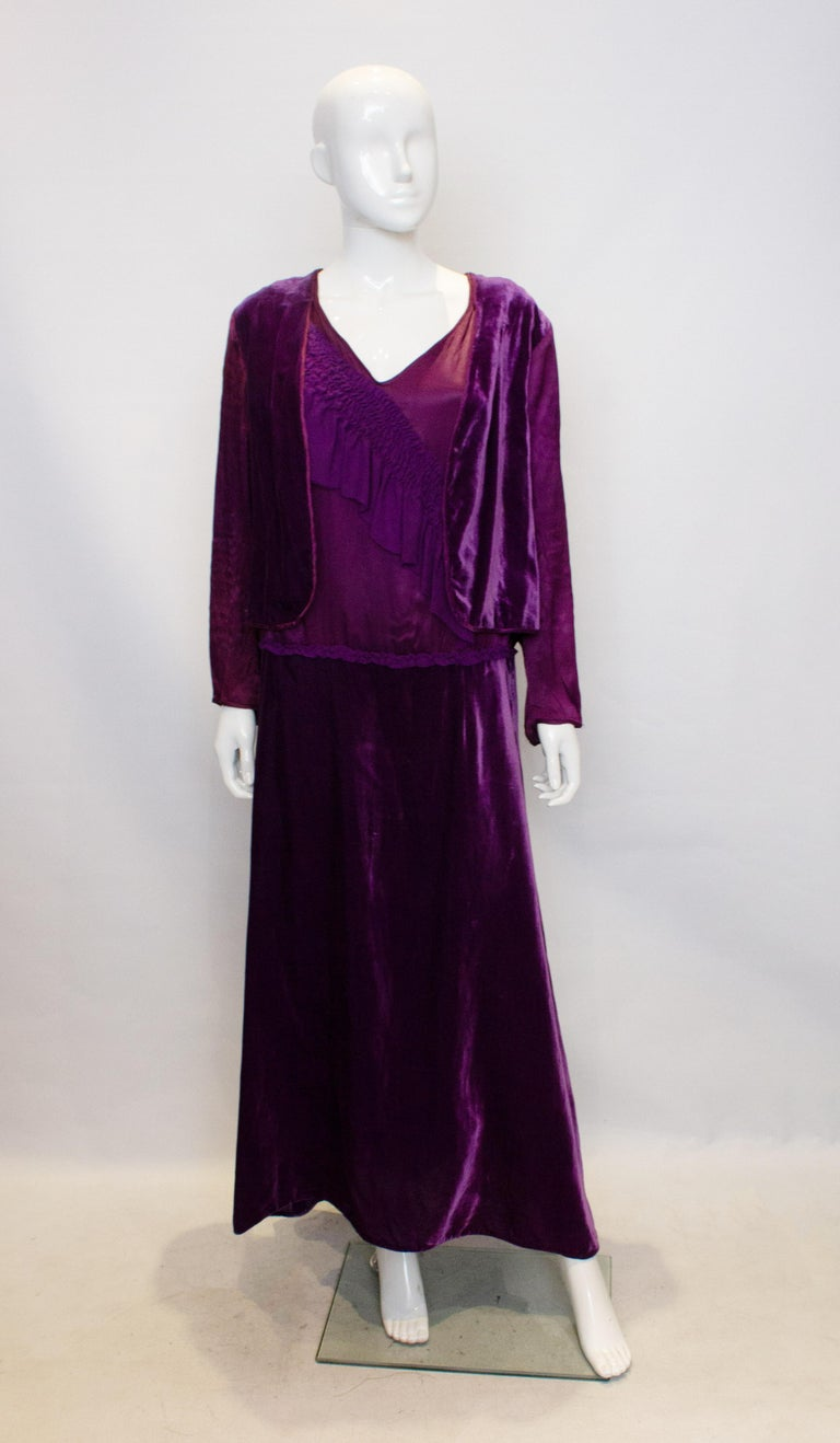Vintage 1920s Dress with Faux Bolero In Good Condition For Sale In London, GB