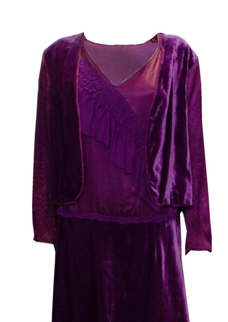 Vintage 1920s Dress with Faux Bolero For Sale 1