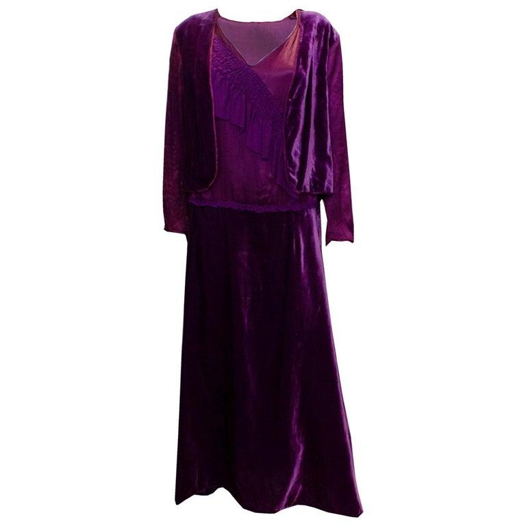 Vintage 1920s Dress with Faux Bolero For Sale