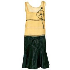 Vintage 1920's Elegant Beaded Floral Yellow Chiffon & Black Satin Flapper Dress