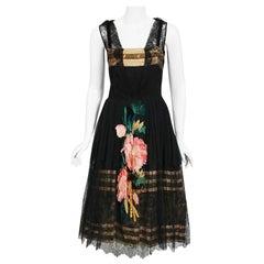 Vintage 1920's Floral Embroidered Appliqué Black Silk & Lace Robe De Style Dress