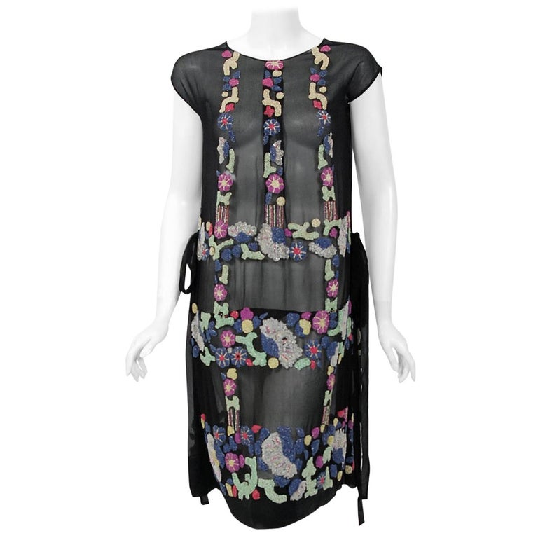 Vintage 1920's French Couture Beaded Deco Floral Silk Drop-Waist Flapper Dress For Sale