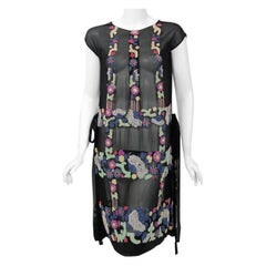 Vintage 1920's French Couture Beaded Deco Floral Silk Drop-Waist Flapper Dress