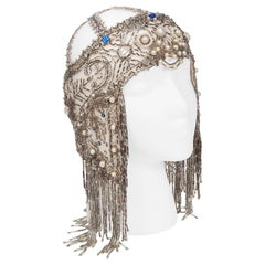 Vintage 1920's French Couture Deco Pearl Beaded Sequin Fringe Flapper Headpiece