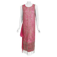 Vintage 1920's French Couture Fuchsia Pink Beaded Embroidered Silk Flapper Dress