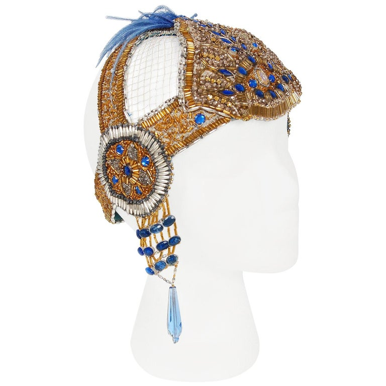 Vintage 1920's French Couture Gold Beaded Blue Jeweled Flapper Crown Headpiece  For Sale