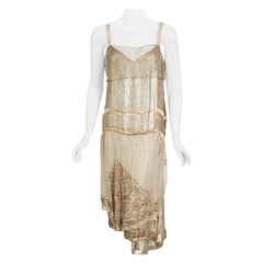 Vintage 1920's French Couture Metallic Gold Embroidered Lamé Draped Dress